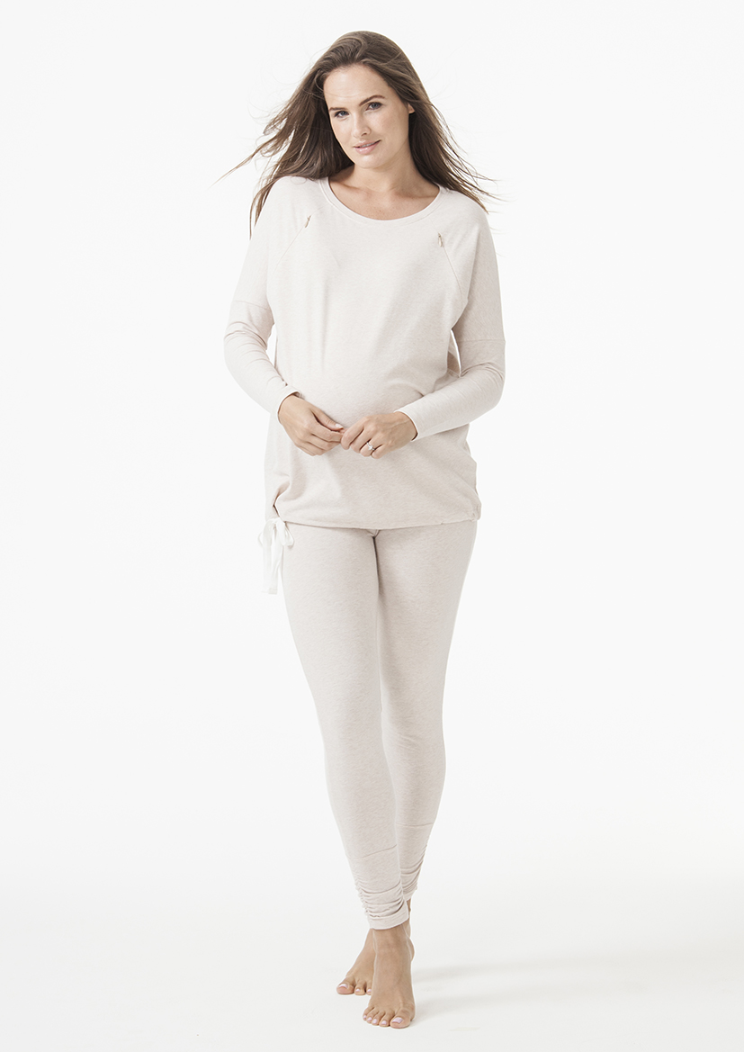 loungewear zip top set | oatmeal